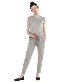 Momsoon Drawstring Jumpsuit - Grey