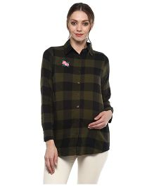 Momsoon Basic Detail Check Shirt - Olive Green