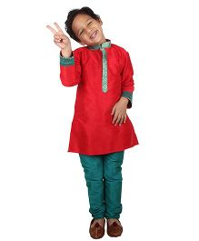 Bownbee Ethnic Kurta & Payjama Set - Red & Green