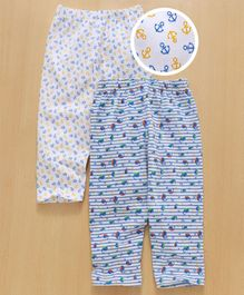 Babyhug Full Length Lounge Pants Anchor & Whale Print Pack of 2 - White Blue