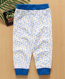 Babyhug Full Length Lounge Pant Anchor Print - White Blue