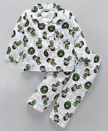 Eteenz Full Sleeves Night Suit Ben 10 Print - White