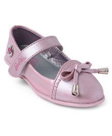 Barbie Party Wear Belly Shoes Bow Applique - Pink