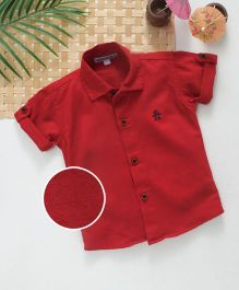 Jash Kids Half Sleeves Shirt Embroidered Penguin - Dark Red