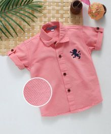 Jash Kids Half Sleeves Shirt Lion Embroidery - Pink
