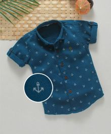 Jash Kids Half Sleeves Shirt Allover Anchor Print - Blue
