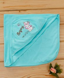Simply Hooded Towel Happy Bear Patch - Aqua Blue