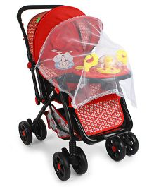 Musical Baby Stroller Cum Pram - Red Black