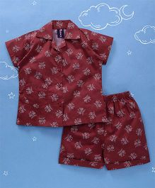 Enfance All Over Printed Night Suit - Maroon