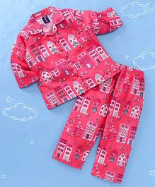 Enfance Buildings Print Night Suit - Red