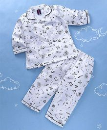 Enfance All Over Print Full Sleeves Night Suit - White