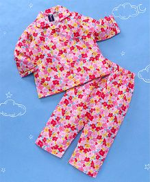 Enfance Flower Print Night Suit - Pink