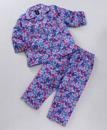 Enfance Flower Print Night Suit - Blue