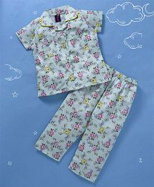 Enfance All over Flowers Print Night Suit - Blue