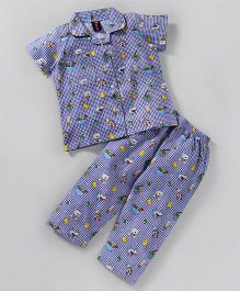 Enfance Toys Print Night Suit - Blue