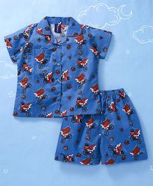 Enfance Santa Claus Print Night Suit - Blue