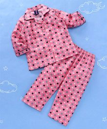 Enfance All Over Star Print Night Suit - Pink