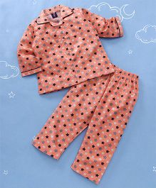 Enfance All Over Star Print Night Suit - Peach