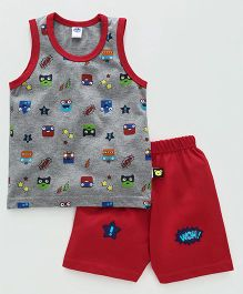 Teddy Sleeveless T-Shirt With Shorts Faces Print - Dark Grey Red