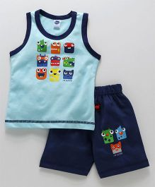 Teddy Sleeveless T-Shirt With Shorts Faces Print - Light Blue
