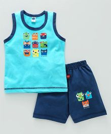 Teddy Sleeveless T-Shirt With Shorts Faces Print - Sky Blue