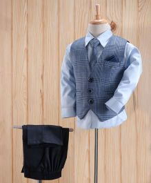 Robo Fry 3 Piece Party Suit With Tie & Pocket Square - Blue