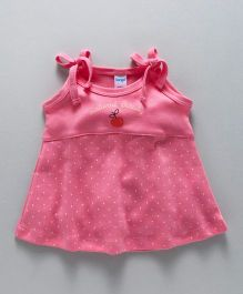 Tango Singlet Frock With Dots Print - Dark Pink