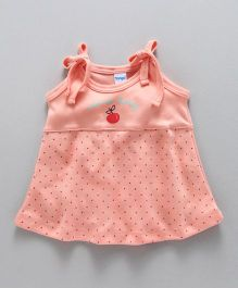 Tango Singlet Frock With Dots Print - Peach