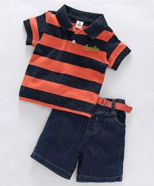 ToffyHouse Collar Neck Stripe T-Shirt & Denim Shorts With Belt - Orange Dark Blue