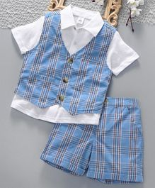 ToffyHouse Party Wear Shirt Waist Coat & Shorts - Blue