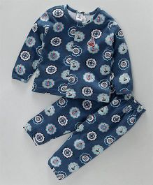 ToffyHouse Full Sleeves Night Suit Lighthouse Print - Navy Blue