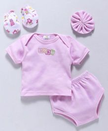 Babyhug Clothing Set Embroidered Design Pink - 4 piece