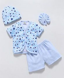 Babyhug Clothing Set Heart Print Blue - 4 Piece