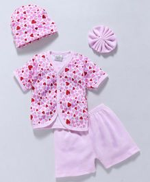 Babyhug Clothing Set Heart Print Pink - 4 Piece