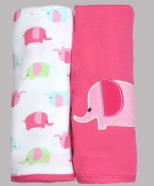 Kiwi  Elephant Patch Cotton Blankets Pack of 2 - Pink & White