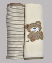 Kiwi Teddy Patch Cotton Blankets Pack of 2 - Cream & Brown