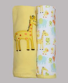 Kiwi Giraffe Patch Cotton Blankets Pack of 2 - Yellow & White