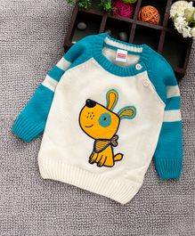 Babyhug Full Sleeves Pullover Sweater Dog Patch - White & Blue