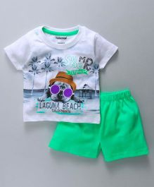 Cucumber Half Sleeves T-Shirt With Shorts Summer Print - White Dark Green