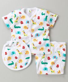Cucumber Short Sleeves Vest And Nappy With Bib Pack of 2 - White & Green