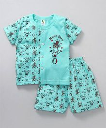 Cucumber Half Sleeves Night Suit Magic Show Print - Sea Green