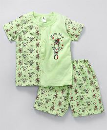 Cucumber Half Sleeves Night Suit Magic Show Print - Green