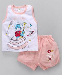 Cucumber Sleeveless Night Suit Space Friends Print - White Peach