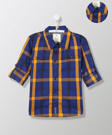 Cherry Crumble California Classic Contrast Check Cotton Shirt - Blue & Yellow