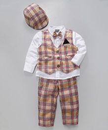 Rikidoos Boys Full Sleeves Party Wear Suit Set - White & Fawn