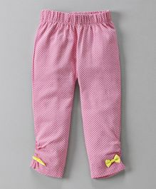 Mom's Love Full Length Polka Dots Print Legging Bow Applique - Pink