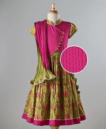 Exclusive From Jaipur Lehenga Set Floral Print - Fuchsia Olive Green