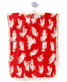 M'andy Hands Print Kaftan - Red
