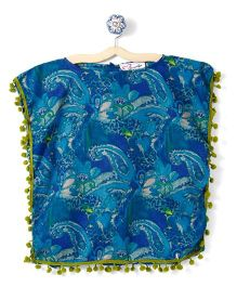 M'andy Abstract Design Print Kaftan - Blue