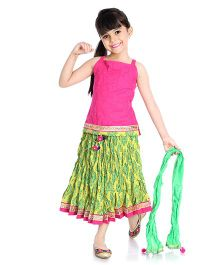 Little Pockets Store Printed Skirt & Top Set With Dupatta - Pink